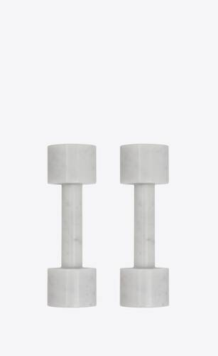 dumbbells in marble