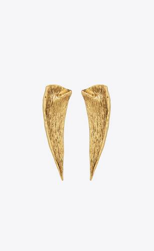 pointed leaf earrings in metal