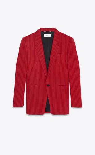 single-breasted jacket in striped wool