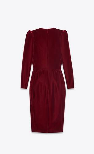 piped midi dress in velvet