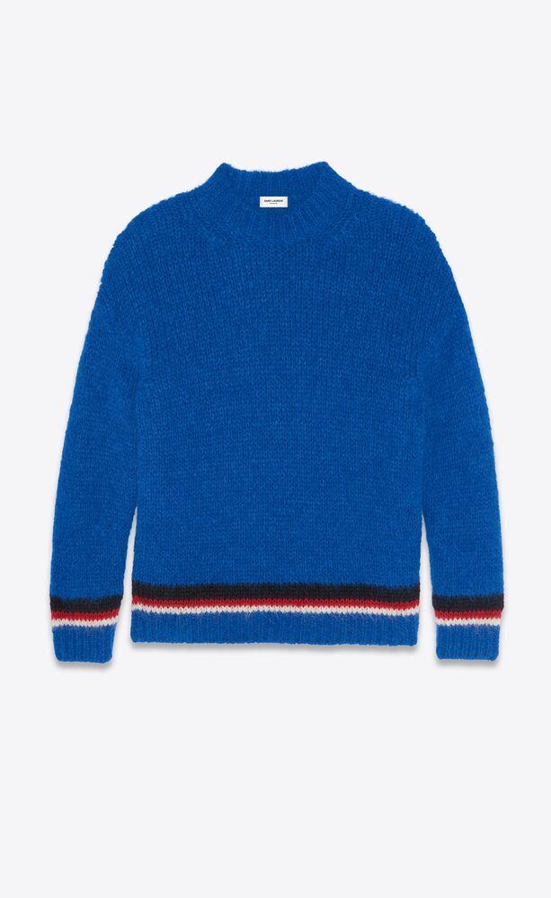 suéter de punto a rayas tricolor