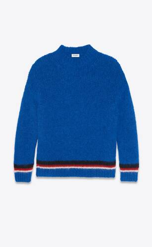 sweater in tricolor striped knit