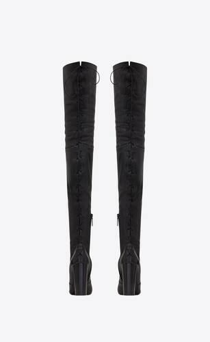 76 thigh-high laced boots in smooth leather