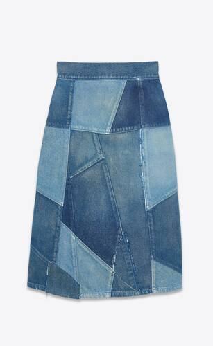 long skirt in vintage indigo twill patchwork