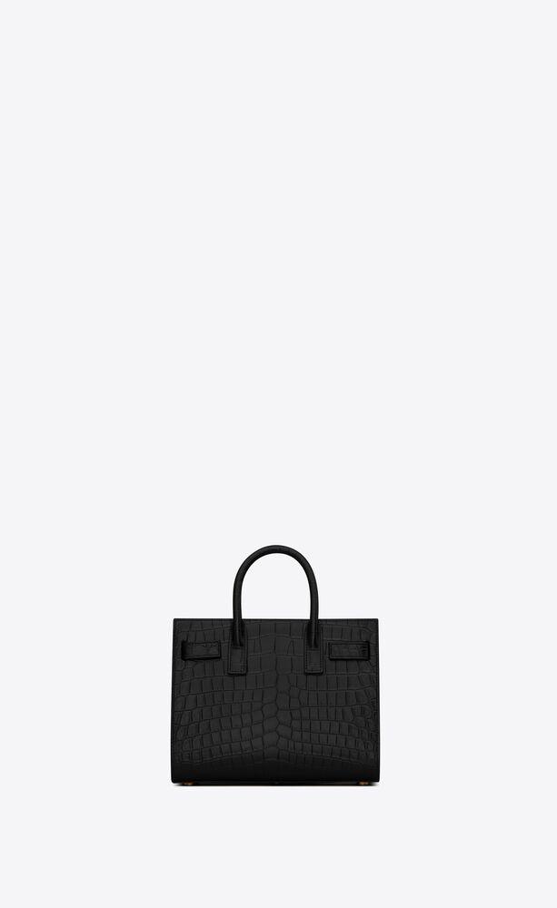 classic sac de jour nano-tasche aus mattem leder mit krokoprägung