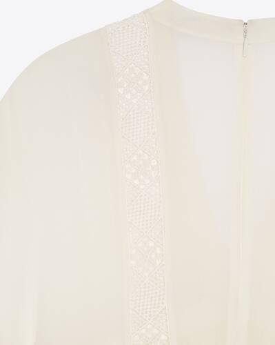 embroidered ruffle dress in silk crepe muslin