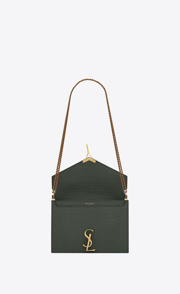 cassandra monogram clasp bag in crocodile-embossed shiny leather