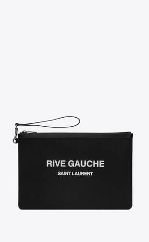 rive gauche zippered pouch in bias canvas
