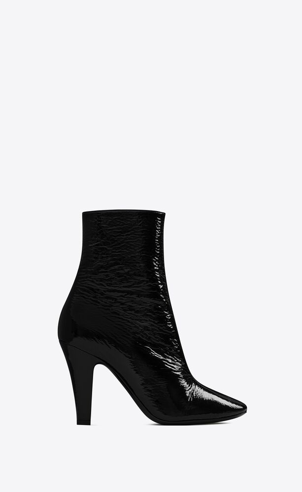 68 booties in crinkled patent leather