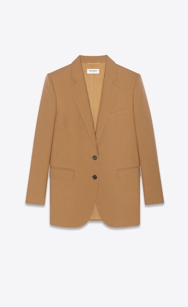 single-breasted jacket in chevron saint laurent wool