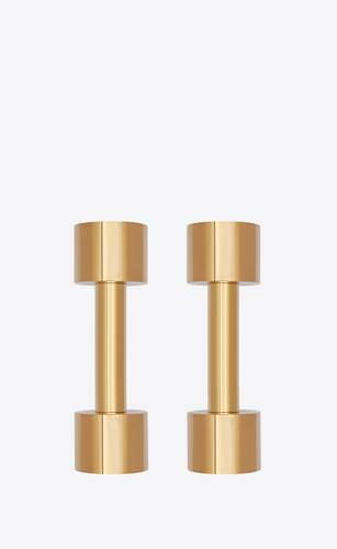 dumbbells in brass