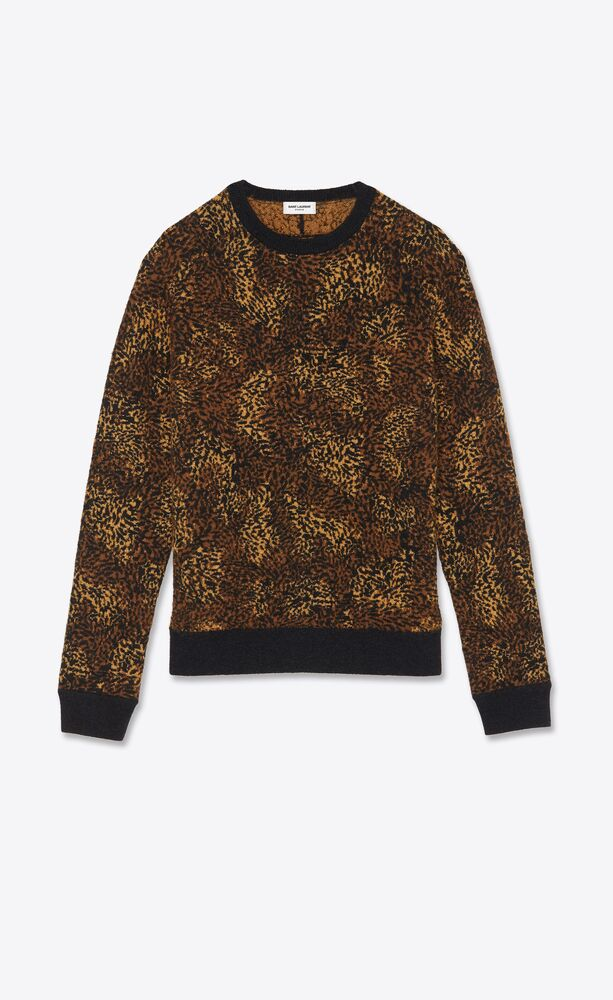 knitted sweater in leopard-print jacquard