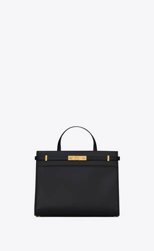 manhattan small shopping bag in box saint laurent leather