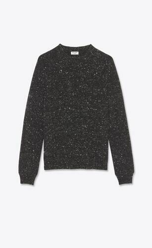 jersey con cuello redondo de lana y cachemira moteada