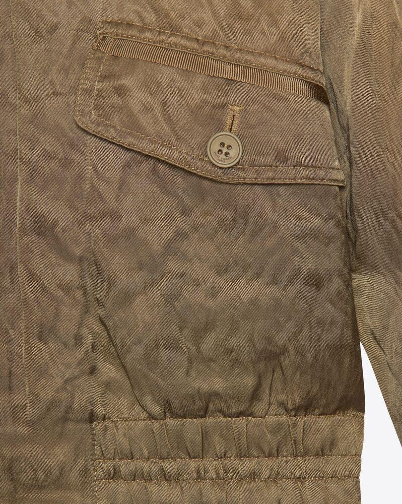 zipped raglan jacket in metallic satin