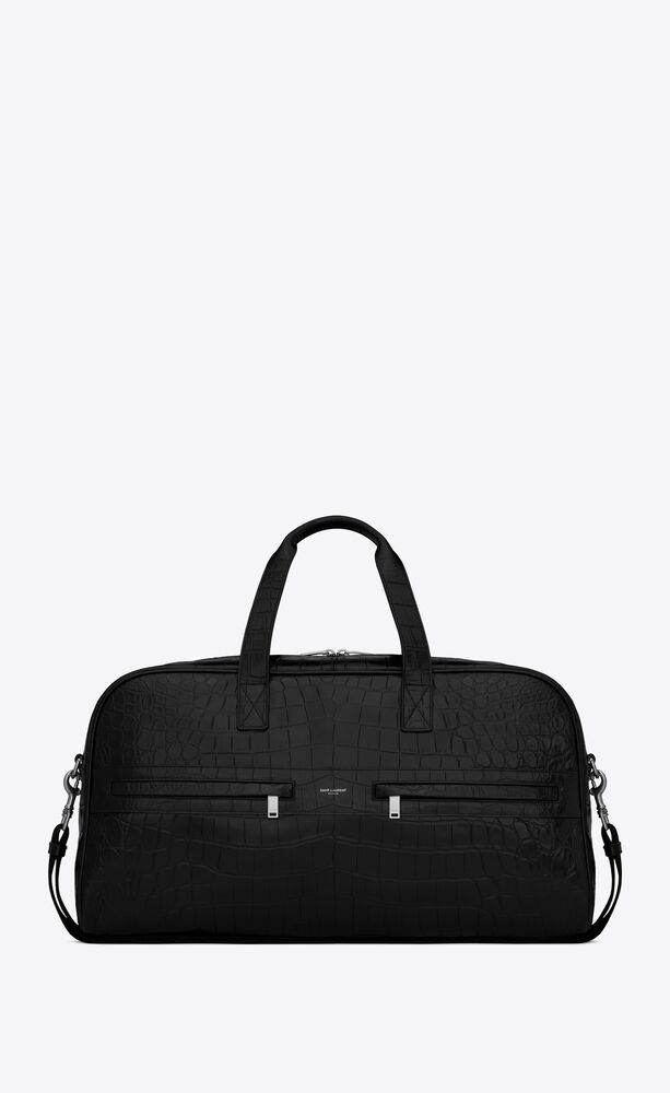 camp duffle bag in crocodile-embossed leather and cotton