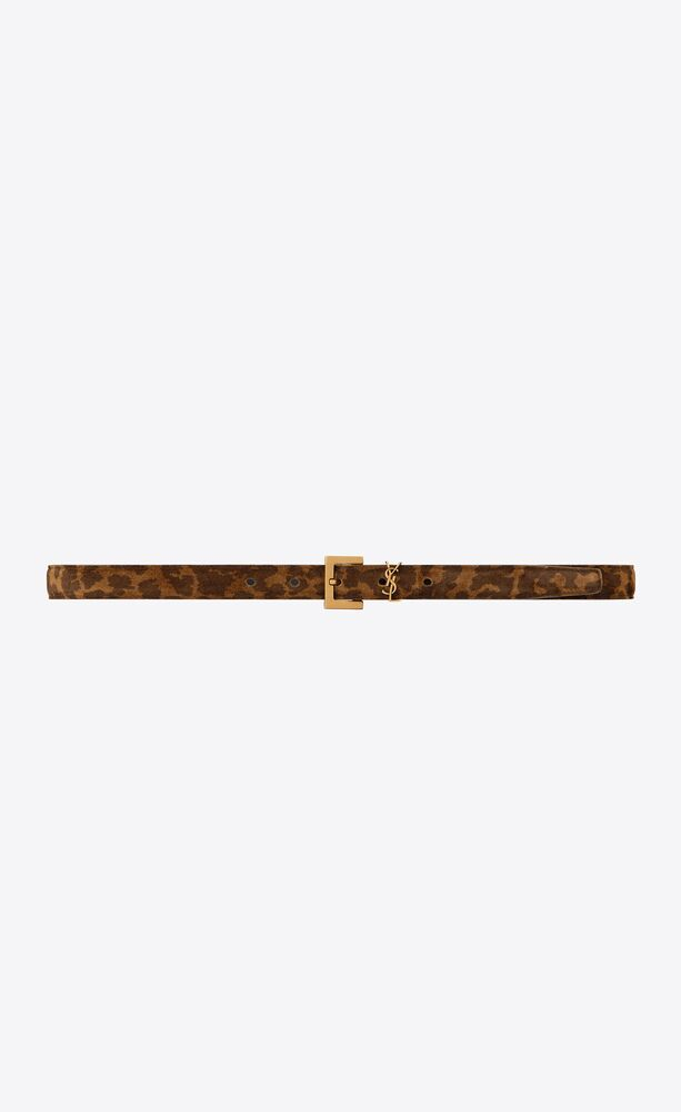 monogram thin belt with square buckle in leopard-print suede