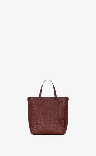 bolso shopper saint laurent north/south toy de piel repujada de cocodrilo