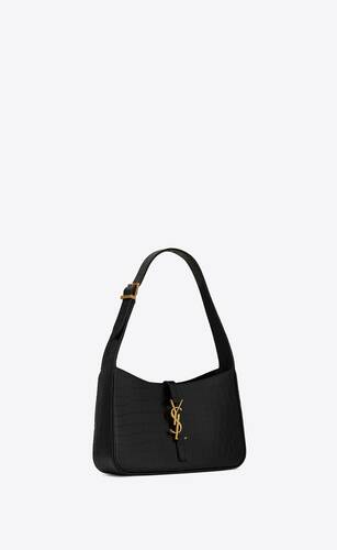 le 5 à 7 hobo bag in crocodile-embossed shiny leather