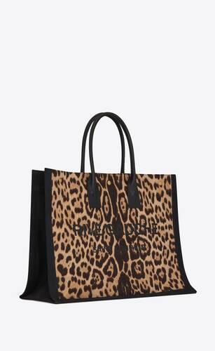 rive gauche cabas en toile à imprimé léopard