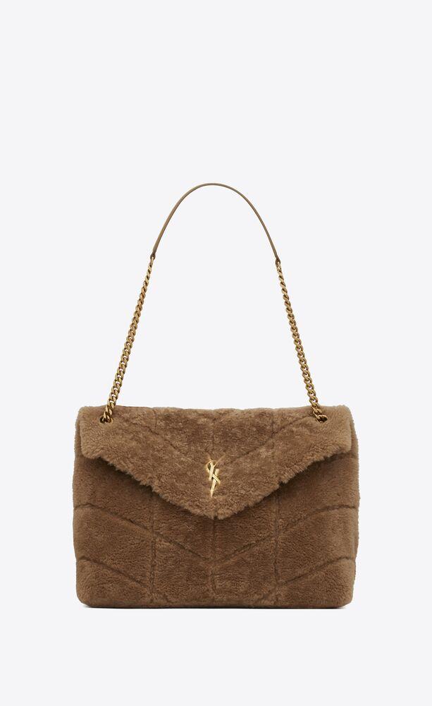 puffer medium bag in merino shearling and lambskin
