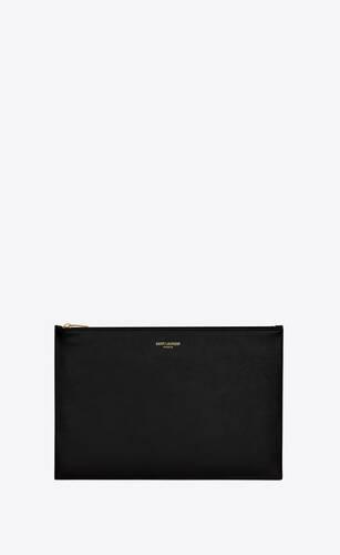 saint laurent paris medium pouch in shiny leather