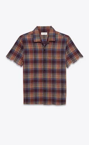 chemise militaire en laine à carreaux