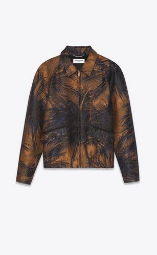 veste raglan zippée en damas à motif jungle