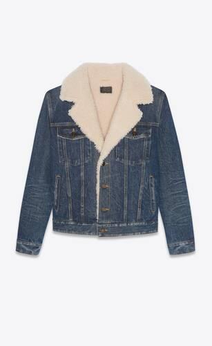 boyfriend jacket in dark ice blue denim and shearling