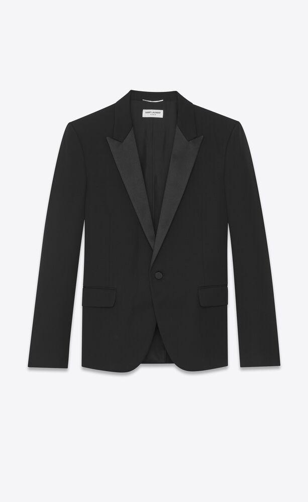 peaked lapel tuxedo jacket in grain de poudre saint laurent