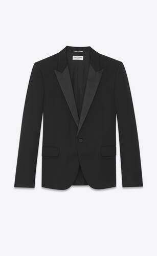 chaqueta de esmoquin con cuello sastre de grain de poudre saint laurent