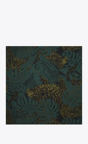 square scarf in nocturnal jungle leopard wool etamine