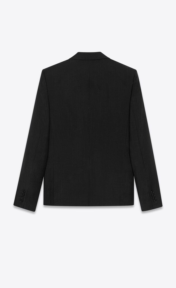 レイズドストライプのモヘア&ウールのショートジャケット