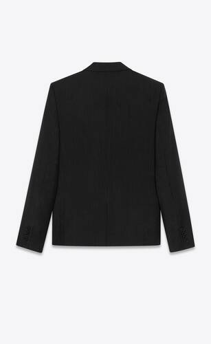 short jacket in raised strip mohair and wool