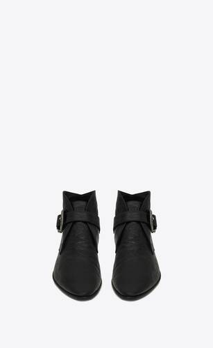 dixon western buckle booties in crocodile-embossed leather