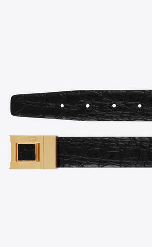 saint laurent square buckle belt in crocodile-embossed leather