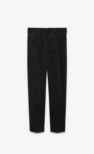 carrot pants in pinstripe velvet