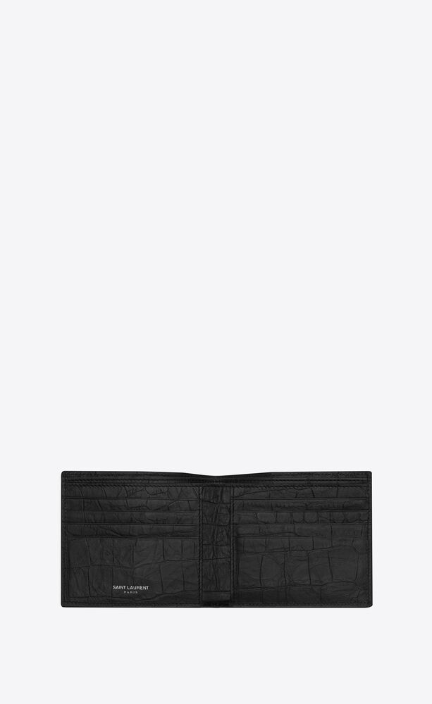 monogram east/west wallet in crocodile embossed leather