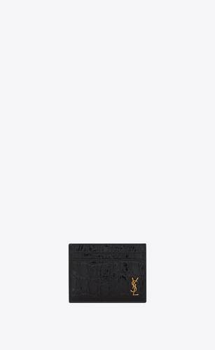 porta carte tiny monogram in pelle di coccodrillo goffrata