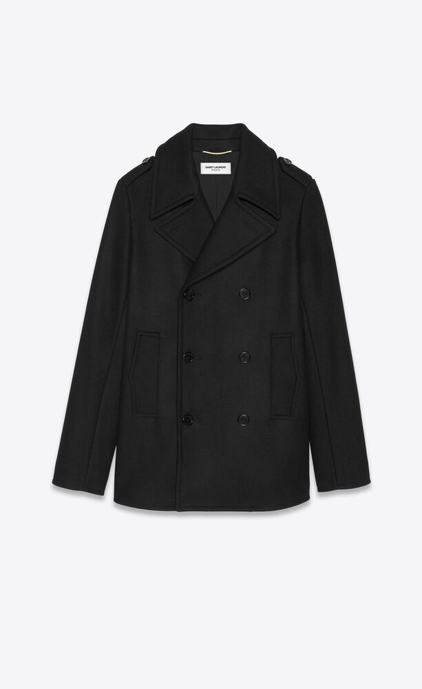 double-breasted peacoat in wool