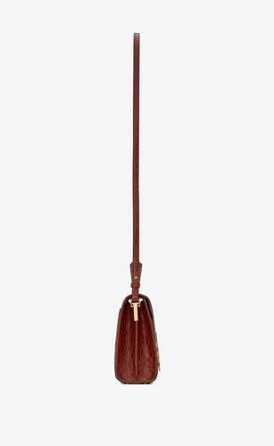 cassandra mini top handle bag in caiman-embossed leather