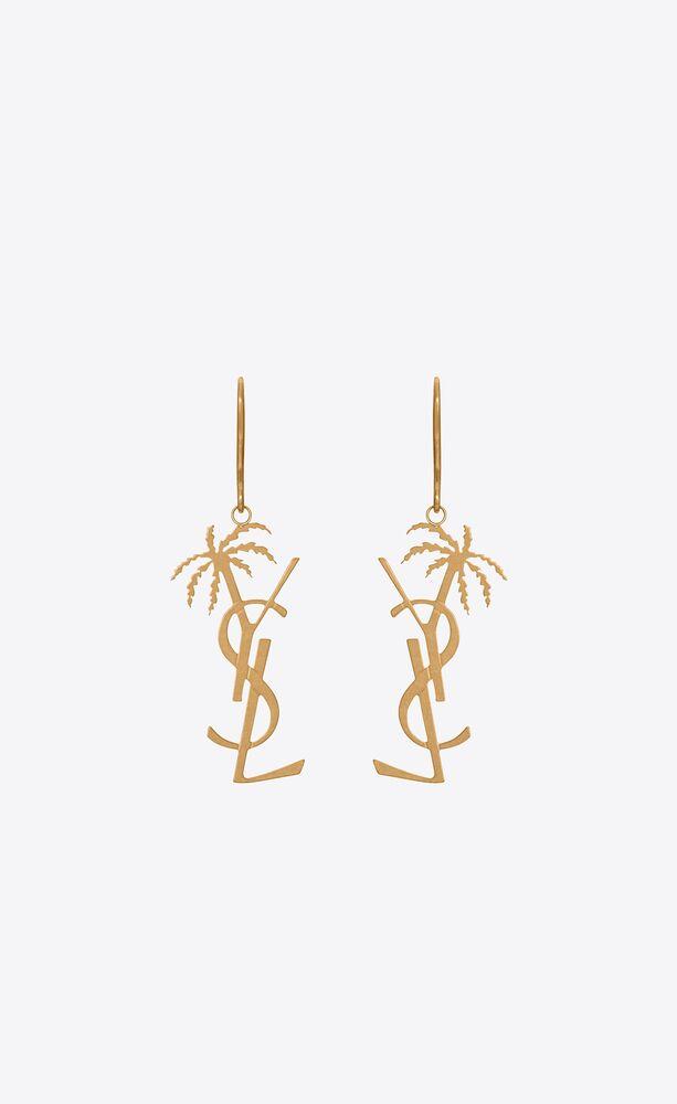 monogram palm earrings in metal