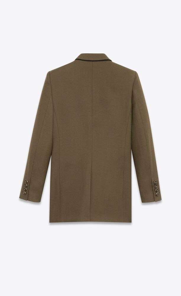 double-breasted oversized jacket in wool gabardine