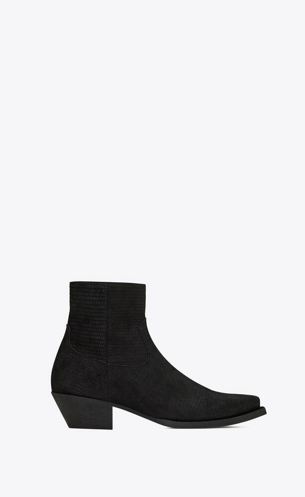 lukas western zipped boots in tejus-embossed suede