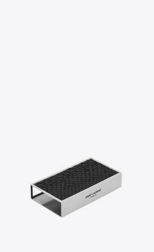 matchbox holder in metal and python-embossed leather