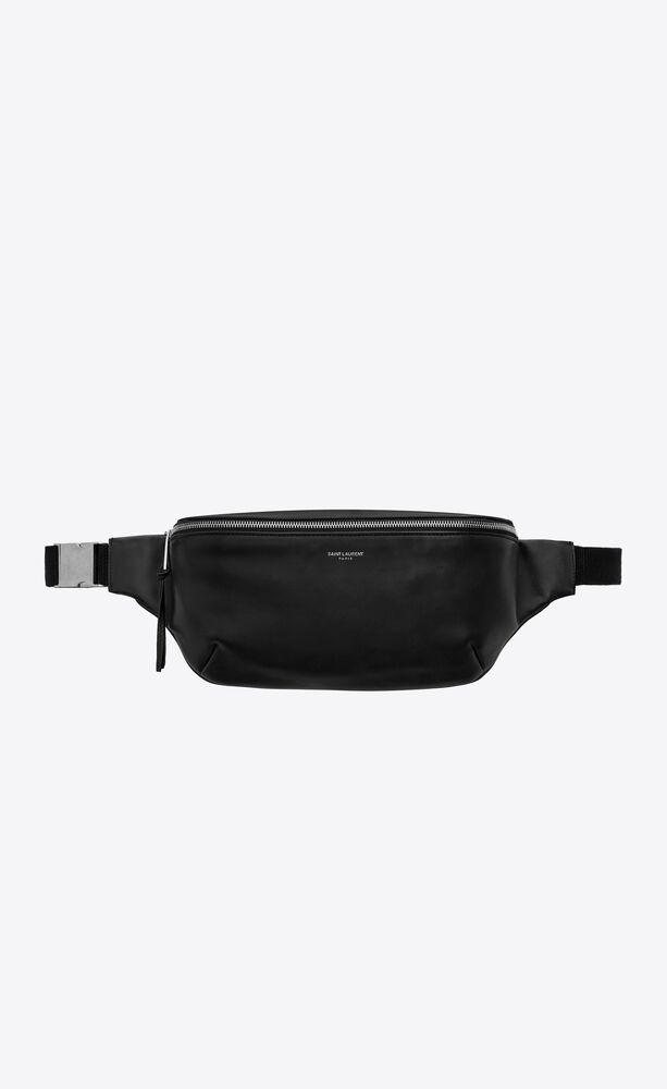classic belt bag in soft black leather