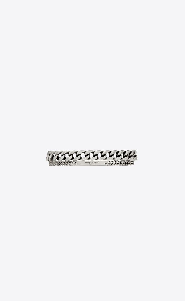 double cuff curb chain bracelet in metal
