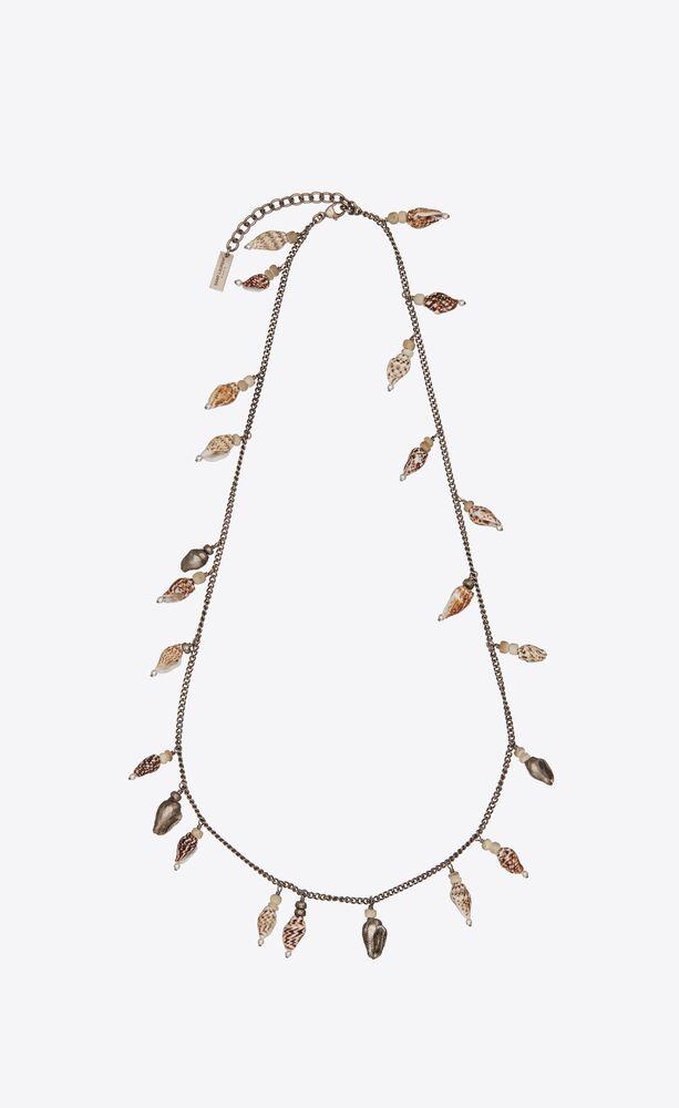 collier à charms coquillages naturels, en métal et bois