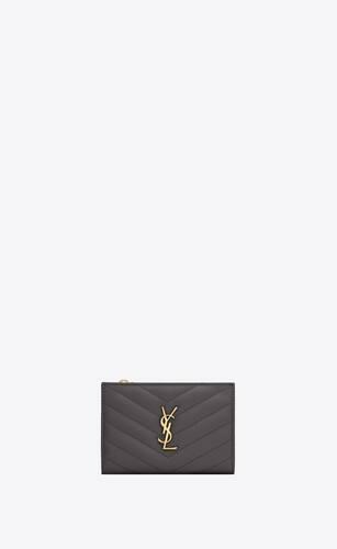 monogram portefeuille zippé à 2 volets en cuir embossé grain de poudre