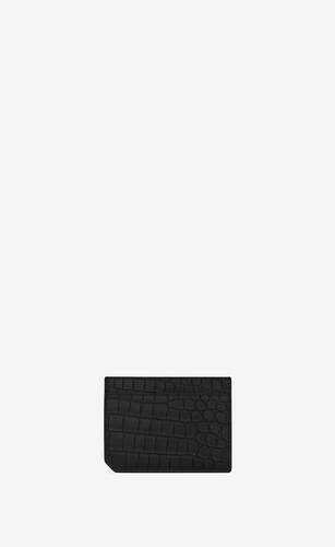 tiny monogram id card case in crocodile-embossed matte leather